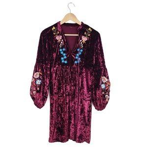 Boho Embroidered Floral Velvet Festival Dress